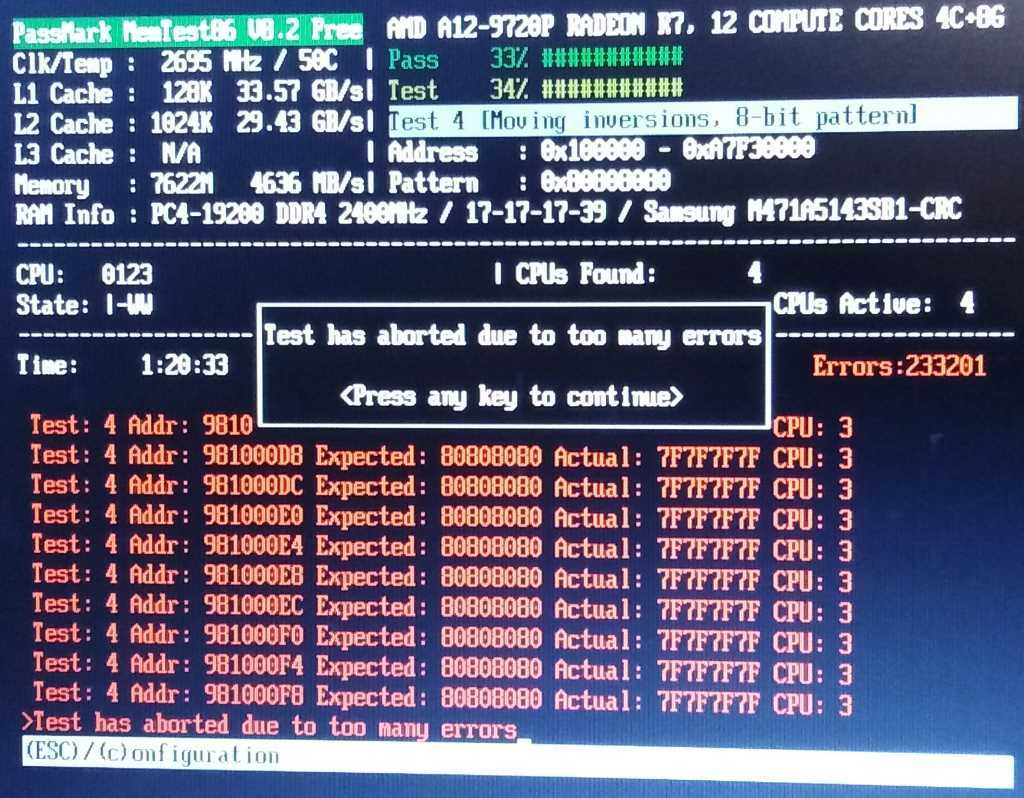 Number of errors exceed max count', but also 'CPU #x timed