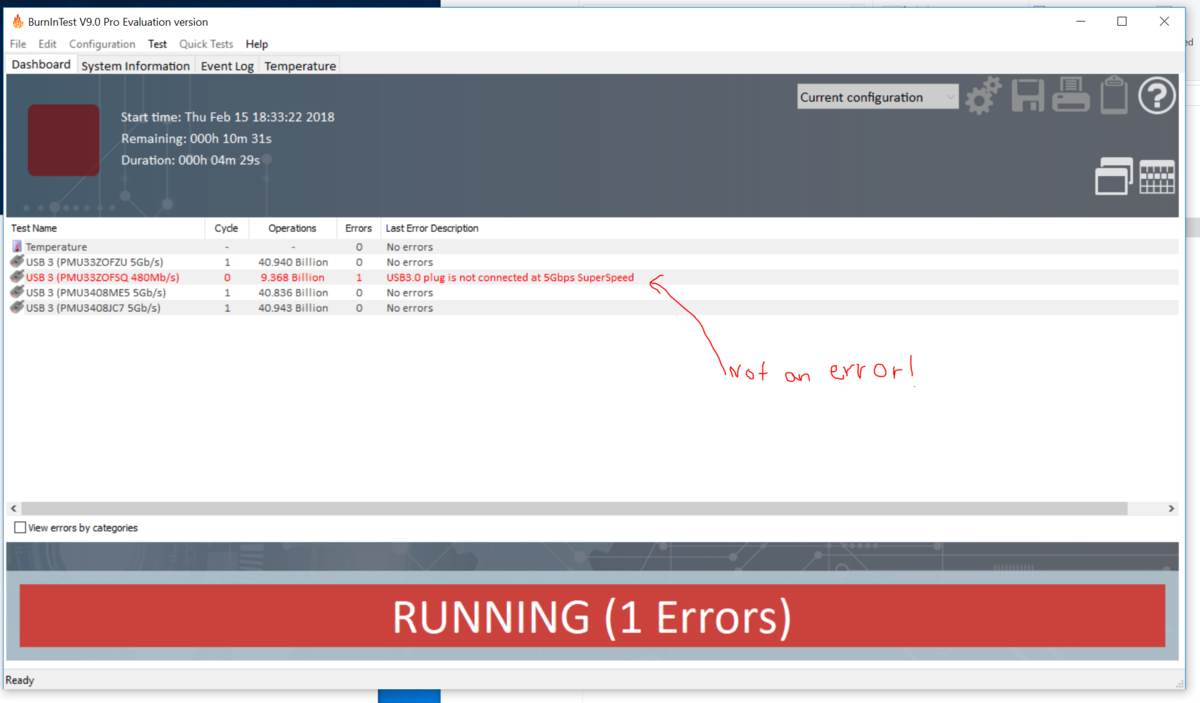 I used USB 3.0 loopbacks in USB 2.0 ports in v8.1 with no problem, but now v9 lists that as errors.